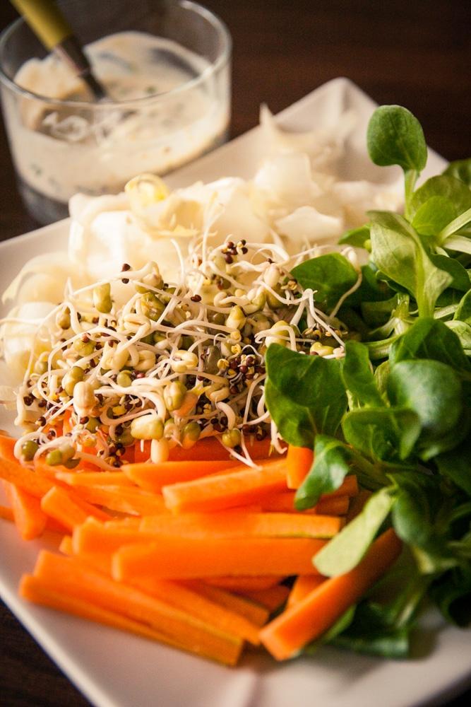 Salade vitamin e aux graines germ es et la sauce yaourt - Cuisine pour les debutants ...