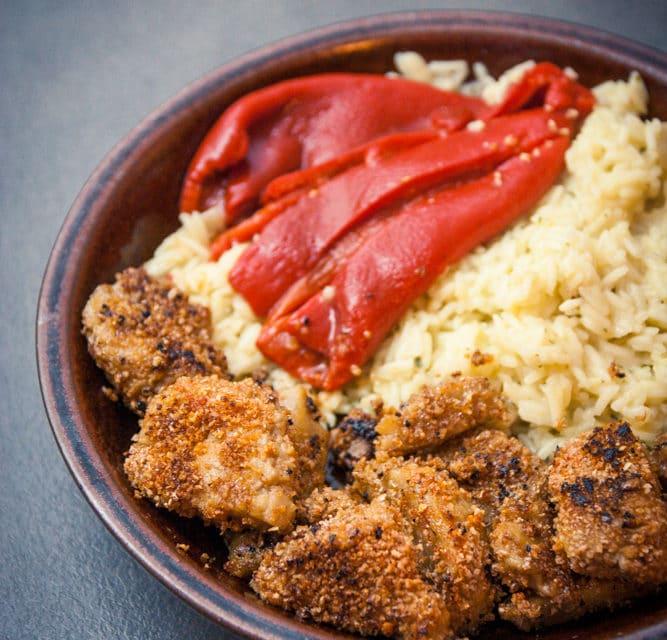 Riz pilaf à l'oignon et nuggets de seitan cuisine végane pour débutant recette vegan facile