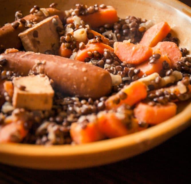 Petit salé aux lentilles végane cuisine végane pour débutant recette vegan facile