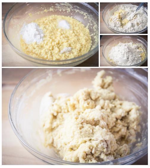 Ajouter la poudre à lever, le bicarbonate, le sel et la farine - recette biscuits véganes